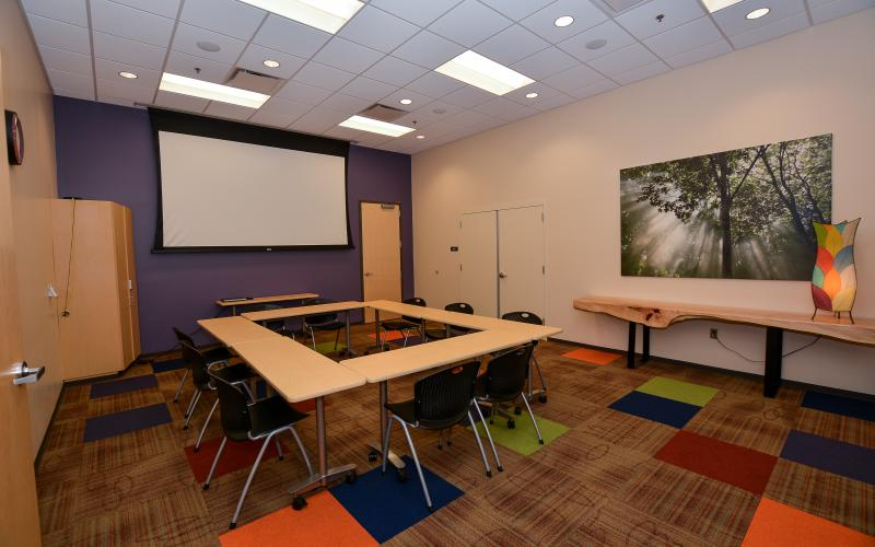SEEK is our smaller conference space. It can accommodate up to 15 people in an open square configuration.