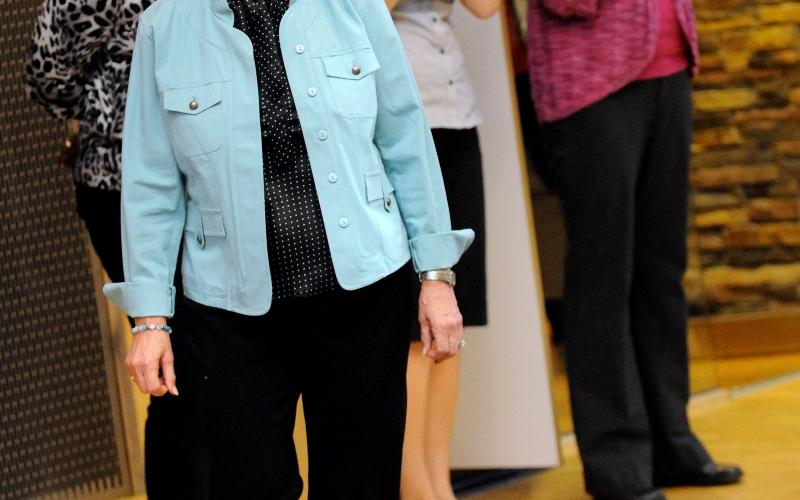 The fashion show finale featured breast cancer survivors.