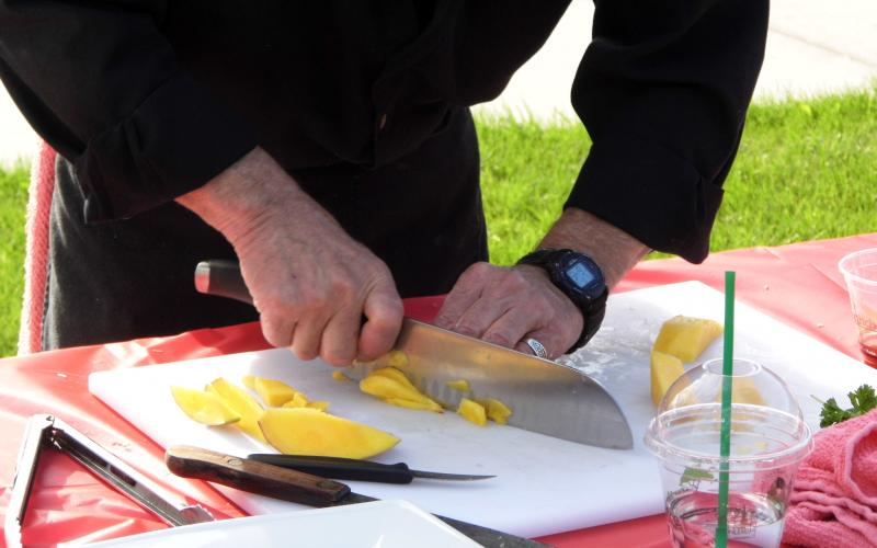 Rodger gets started in on the mango, one of the mystery ingredients