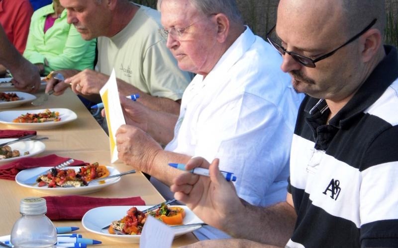 The judges taste the dishes